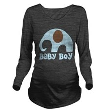 Cute Baby Boy Elephant Long Sleeve Maternity T-Shi