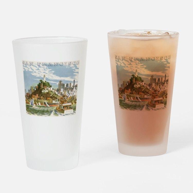 Vintage Travel Poster San Francisco Drinking Glass