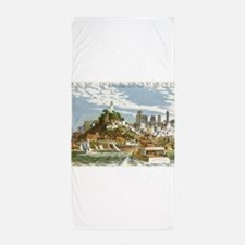 Vintage Travel Poster San Francisco Beach Towel