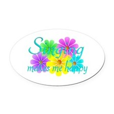Singing Happiness Oval Car Magnet