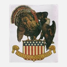 Vintage Thanksgiving Turkey And Eagle Throw Blanke