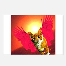 red wing cat Postcards (Package of 8)