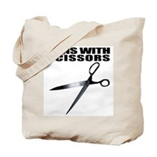 Runs with scissors. Funny Tote Bag