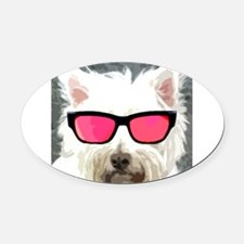 Roger The Dog Oval Car Magnet