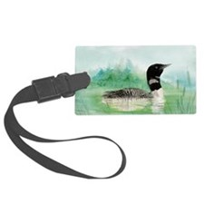 Watercolor Loon Wilderness Lake Bird Art Luggage Tag