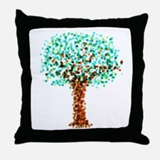 Stippled Digital Brush Painted Tree Throw Pillow