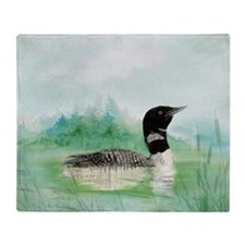 Watercolor Loon Wilderness Lake Bird Art Throw Bla