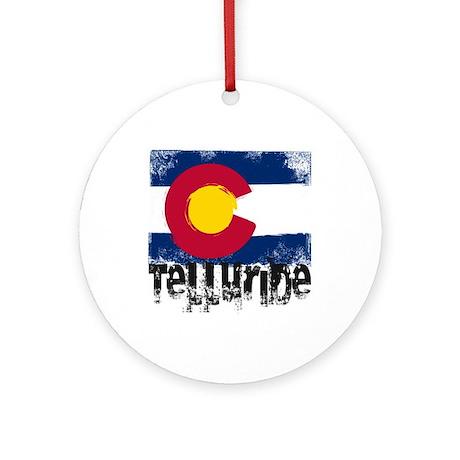 Telluride Grunge Flag Ornament (Round)