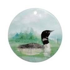 Watercolor Loon Wilderness Lake Bird Art Ornament