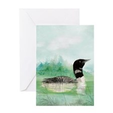 Watercolor Loon Wilderness Lake Bird Art Greeting