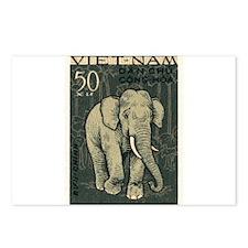 Vintage 1961 Vietnam Elephant Postage Stamp Postca