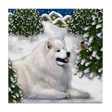SAMOYED DOG WINTER VILLAGE Tile Coaster