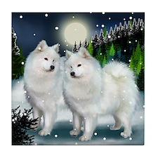 SAMOYED DOGS SNOW MOUNTAIN Tile Coaster
