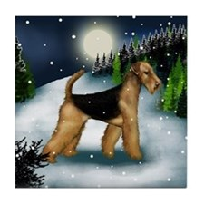 AIREDALE TERRIER DOG SNOW MOUNTAIN Tile Coaster