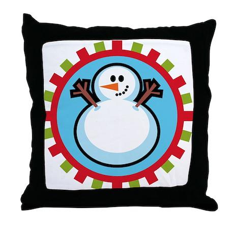 Cute Snowman Throw Pillow