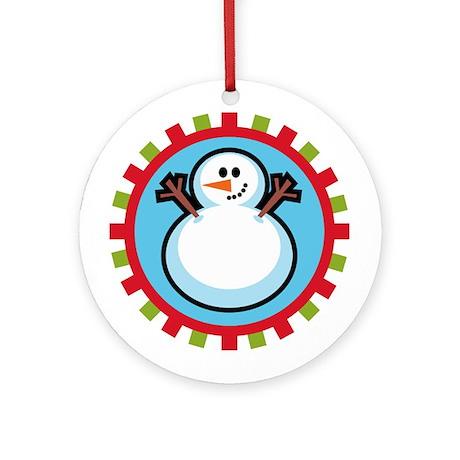 Cute Snowman Ornament (Round)