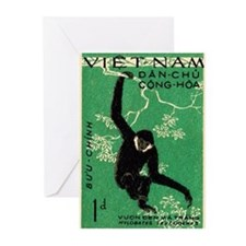 Vintage 1961 Vietnam Gibbon Postage Stamp Greeting