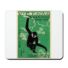 Vintage 1961 Vietnam Gibbon Postage Stamp Mousepad
