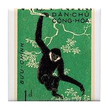 Vintage 1961 Vietnam Gibbon Postage Stamp Tile Coa