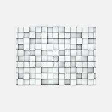 White 3D Blocks 5'x7'Area Rug