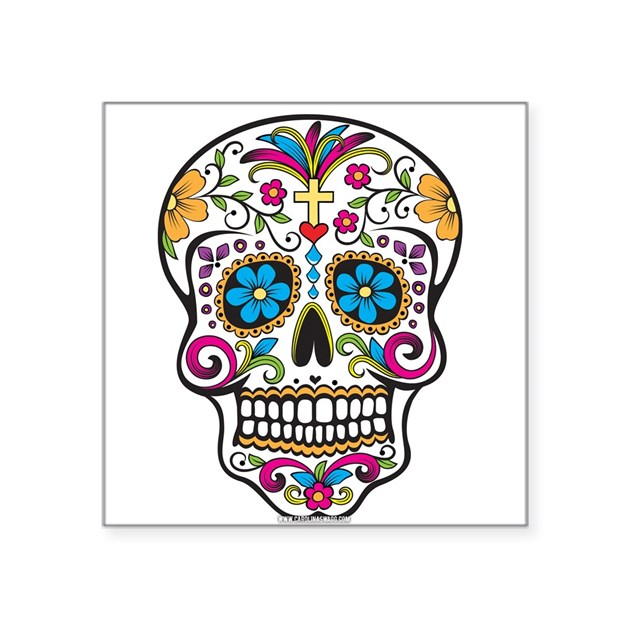 Day Of The Dead Sugar Skull Halloween Sticker By