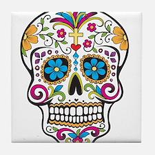 Day of The Dead Sugar Skull, Halloween Tile Coaste