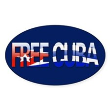 """""""Free Cuba Bubble Letters"""" Oval Decal"""