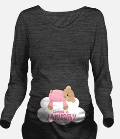 January Due Date Baby Girl Long Sleeve Maternity T