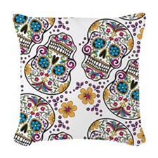 SugarSkull Halloween White Woven Throw Pillow