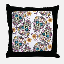 SugarSkull Halloween White Throw Pillow