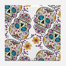 SugarSkull Halloween White Tile Coaster
