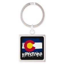 Keystone Grunge Flag Square Keychain