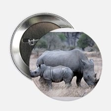 """Mother and Baby Rhino 2.25"""" Button"""