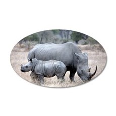 Mother and Baby Rhino Wall Decal