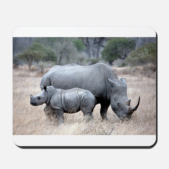 Mother and Baby Rhino Mousepad
