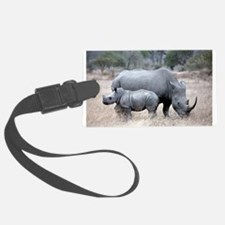 Mother and Baby Rhino Luggage Tag
