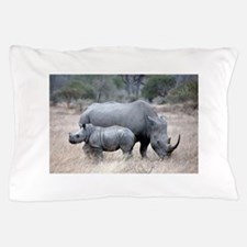 Mother and Baby Rhino Pillow Case