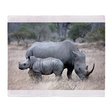 Mother and Baby Rhino Throw Blanket