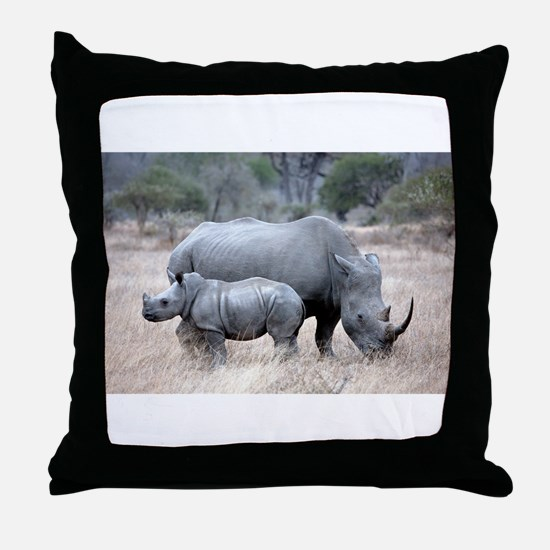 Mother and Baby Rhino Throw Pillow
