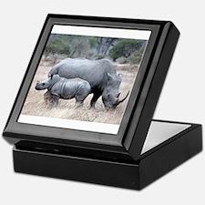 Mother and Baby Rhino Keepsake Box
