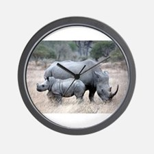 Mother and Baby Rhino Wall Clock
