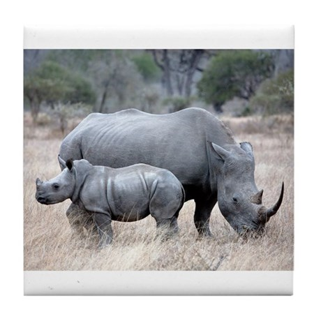 Mother and Baby Rhino Tile Coaster
