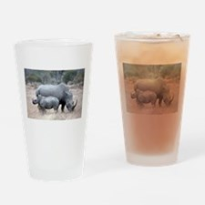 Mother and Baby Rhino Drinking Glass