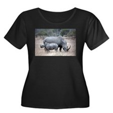 Mother and Baby Rhino Plus Size T-Shirt