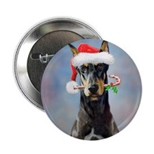 "Doberman Christmas 2.25"" Button"