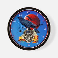 Black Raven-Red Moon-letteredTrans Wall Clock