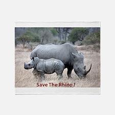 Save The Rhino Throw Blanket
