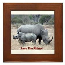 Save The Rhino Framed Tile