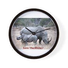 Save The Rhino Wall Clock