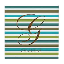 Custom Monogram Elegant Stripe Tile Coaster